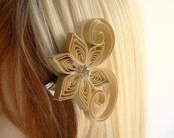 Linen Wedding Hair Clip, Taupe Wedding Hair Accessory