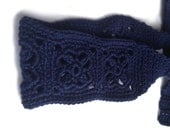 Crochet Headband, Boho Knit Hairband, In Navy Dark, Blue, 100%, Cotton