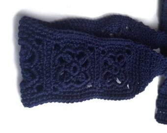 Crochet Headband, Boho Knit Hairband, In Navy Dark, Blue, 100%, Cotton