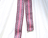 Handwoven Belt - Inkle Weaving - Maroon accented Pink and Grey