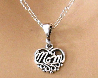Sterling Silver Mom Necklace, New Mom Gift, Mothers Day Gift, Mom  Charm Necklace, Gifts for Mom, Sterling Silver Heart Necklace