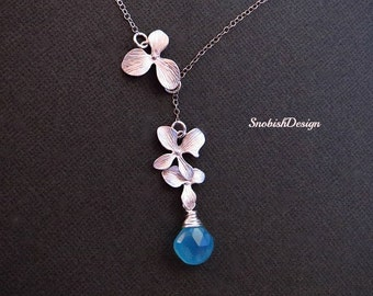 Orchid Necklace, Flower Necklace, Bridal Necklace, Wedding Necklace, Bridesmaid Necklace, Lariat Necklace,Bridal jewelry,Bridesmaid gifts,