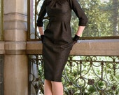 50s style wiggle dress for autumn and winter in black wool and silver lurex, sizes 0 to 16