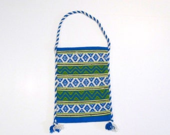 Blue and White Woven Tote Bag Vintage Greek Beach Shoulder bag Mediterranean Island Travel Purse boho Hellenic Greece Ethnic Tapestry Bag