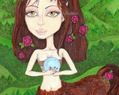 big eyes, Centuar, hand painted watercolor, art print, forest fae, roses, hazel eyes,