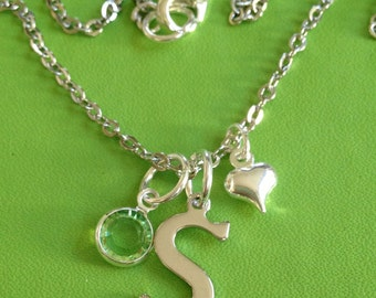 Silver Initial S Birthstone and Heart Necklace