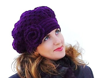 Crochet  Aubergineshunky  beret, Warm  violet  Hat  with flower