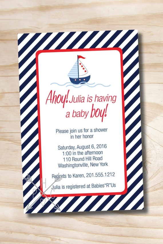 NAUTICAL STRIPE Sailboat Custom Baby Shower Invitation Digital Design - Printable Digital file or Printed Invitations