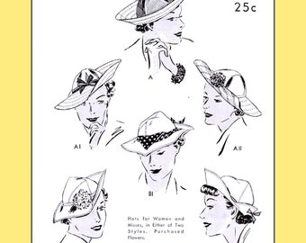 1930s Swagger Hats, in two styles - Vintage Sewing Pattern PDF 1005
