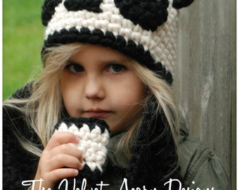 Crochet PATTERN-The Paige Panda Hat/Scarf (Toddler, Child, and Adult sizes)