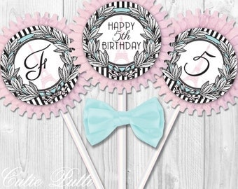 """Paris Party Cupcake Toppers, 2"""" Custom Party Squares By Cutie Putti Paperie"""