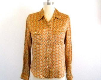 Vintage 1990s Limited Silk Blouse Gold Print