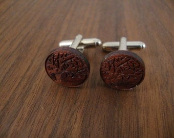 Men's Wooden Cuff Links - Tree Branch Engraving in Cocobolo Wood - Wedding, anniversary, any Special Occasion