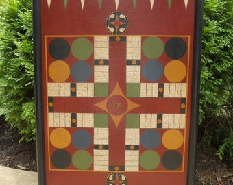 Parcheesi, Game Board, Wood, Game Boards, Wooden, Hand Painted, Folk Art, Primitive