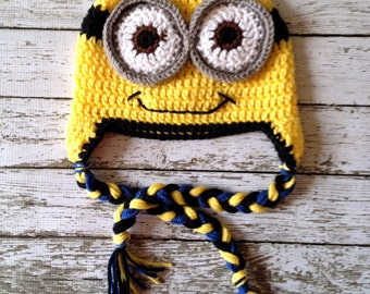 Minion Inspired Beanie in Yellow, Black and Blue Available in Newborn to 5 Years Size- MADE TO ORDER