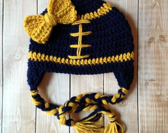 Little Miss Football Beanie in Navy Blue and Gold Available in Newborn to 5 Years Size- MADE TO ORDER