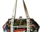 Monster Handbag with Your Choice of Vinyl Trim, Kisslock Frame - MADE TO ORDER