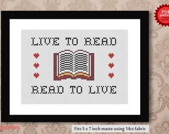 Live to read, read to live PDF cross stitch pattern