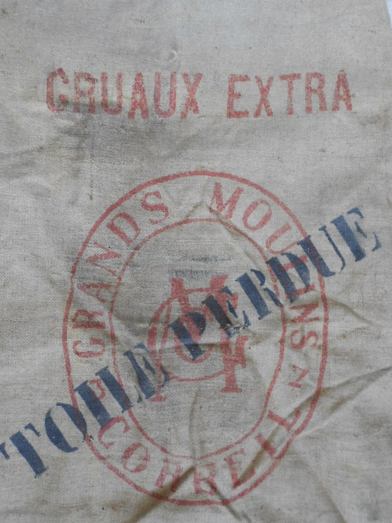 Moulin, French Vintage grain sack,  burlap sack.
