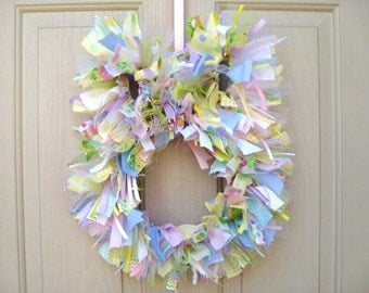 Easter Bunny Wreath, Easter Wreath, Easter Decoration, Spring Wreath, Easter Decoration, New Baby Gift, Easter Ribbon Fabric Wreath
