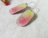 Enamel earrings yellow pink dangle artisan jewelry by Alery