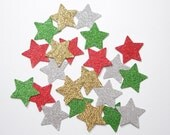 50 Holiday Glitter Star Confetti, Christmas Confetti, Holiday Party Decorations - paper crafts and party supplies - No915