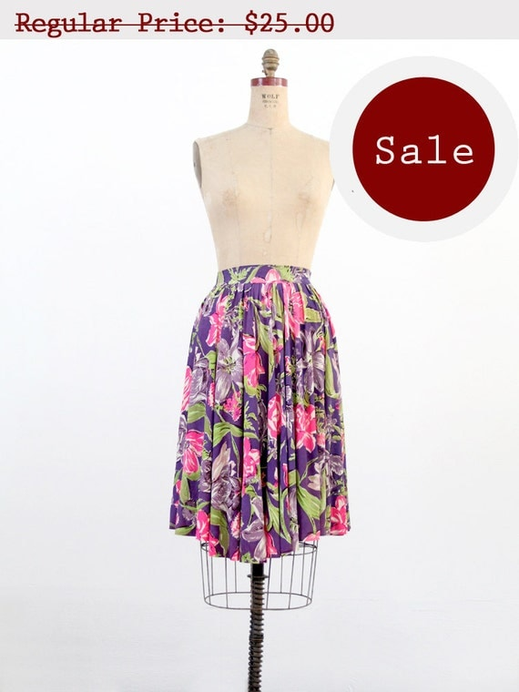 RESERVE - SALE 1980s Skirt / Neon Floral