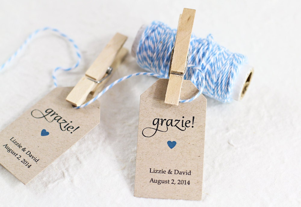 Italian Wedding Gifts: Wedding Favor Tag Grazie Thank You In Italian Bridal By