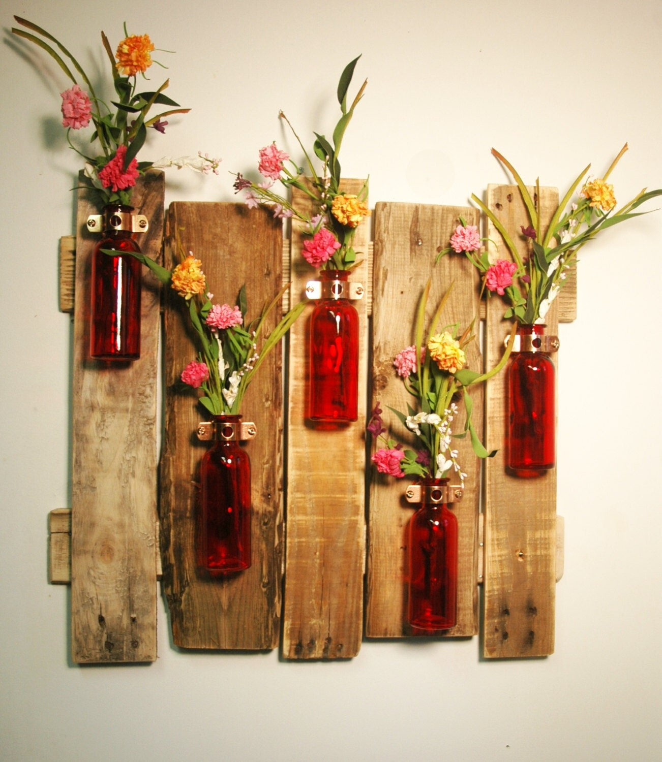 YOUR COLOR CHOICE Unique large wall piece with Colored bottles