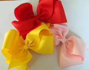 "10 Extra Large Grosgrain  Boutique Bows, approx. 6"" wideTexas Style ,Back to School , Birthday Gift, Big Bows,Large Bows, You pick colors"