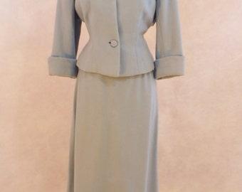 Darling 1950s Blue Wool Suit