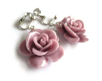 Lilac Purple Large Rose Clip On Earrings - Non Pierced Ears