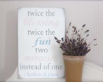 Custom Sign, Twins, Quote for Twins Sign, Nursery Sign, NameSign, Wood Wall Art, Wood Sign, Vintage Sign