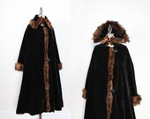 RESERVED - RARE! Early 1920s Velvet and Fur Coat / Edwardian Duster
