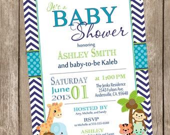 Boy Jungle Baby Shower Invitation, jungle, chevron, teal, navy, safari, typography, printable invitation