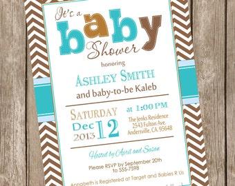 Modern Boy Fall baby shower invitation, turquoise, brown, blue, boy autumn baby shower invitation, typography, printable invitation