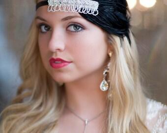 1920s Headband, Flapper Headpiece, Gatsby Headband, Feather Headband, Flapper Headband, Art Deco Headband, 1920s Hair Accessory