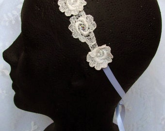 Ivory Lace Flower Headband, Bridal Hairpiece, Summer Festival Headband, Flower Crown