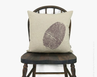 Personalized Thumbprint Pillow Case | Fingerprint Custom Cushion Cover | Your Color Print and Fabric | Decorative Accent in 12x18 or 16x16