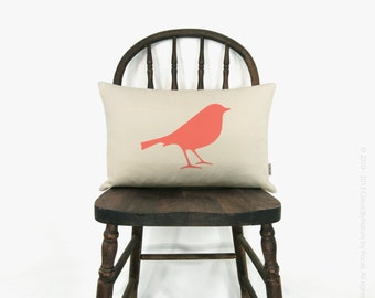 Personalized bird pillow case | 12x18 or 16x16 bird silhouette pillow cover | Your color, fabric and size choices | Modern home decor
