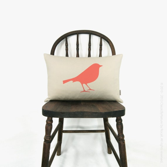 Bird pillow cover - Personalized pillow case - Your choice of print color, fabric and size (12x18 or 16x16) - Modern home decor