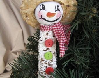 Corn Cob Snowman Christmas Ornament