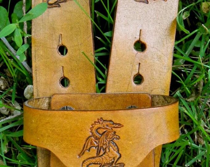 Sword BELT w/ DRAGON Emblem - Handmade Leather
