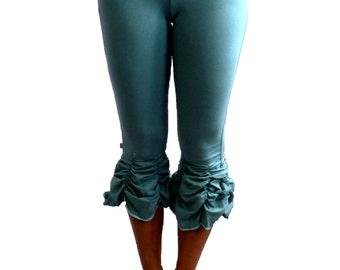 Extra Large Ruched Yoga Capri Turquoise With Fold Over Waistband