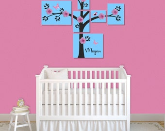Stretched Canvas Tree Silk Flowers Rhinestone Set Personalized Nursery Art Hangings Decor