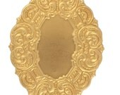 Raw Brass Large Oval Cameo Setting Stamping Perfect for Steampunk Art Made in the USA Brass