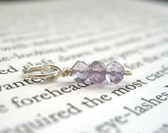 February Birthstone Tiny Faceted Amethyst Dangle - Sterling Silver / Sparkly Pale Light Lilac Purple, Delicate Dainty Pendant
