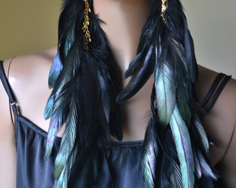 Extra Long Black Feather Earrings