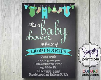Baby Shower Invite Blackboard