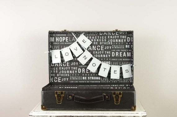 Black and White Wedding Card Box for LOVE NOTES - Live Laugh Love - Subway Art